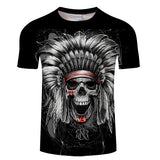 Feather Skull 3D Print Men Women Summer Casual Short Sleeve O-neck Tops&Tee