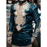 Autumn Traditional Men Robe T Shirts Dashiki Long Sleeve Printed Button Decor Stand Collar Loose African Clothing Tribal Tee