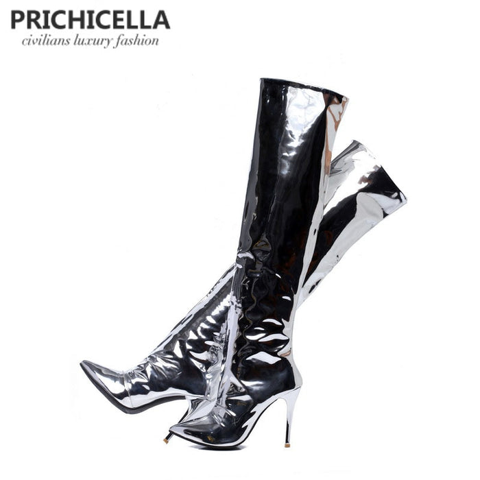 silver mirror leather pointed toe high heel over the knee boots
