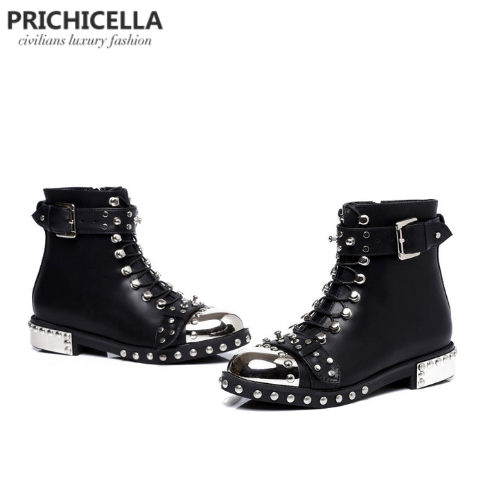 Genuine Leather Studded Lace up Ankle Boots