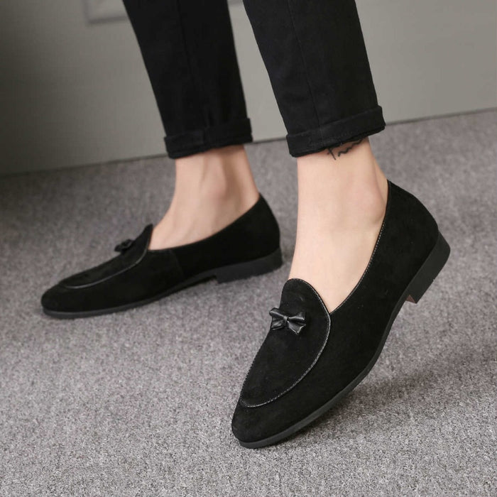 Men Fashion Suede Leather Doug Casual Moccasin Flat Bowknot Slip-On Shoes Loafers