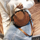 Women Circular Genuine Leather Top handle Shoulder Purse Crossbody Bag
