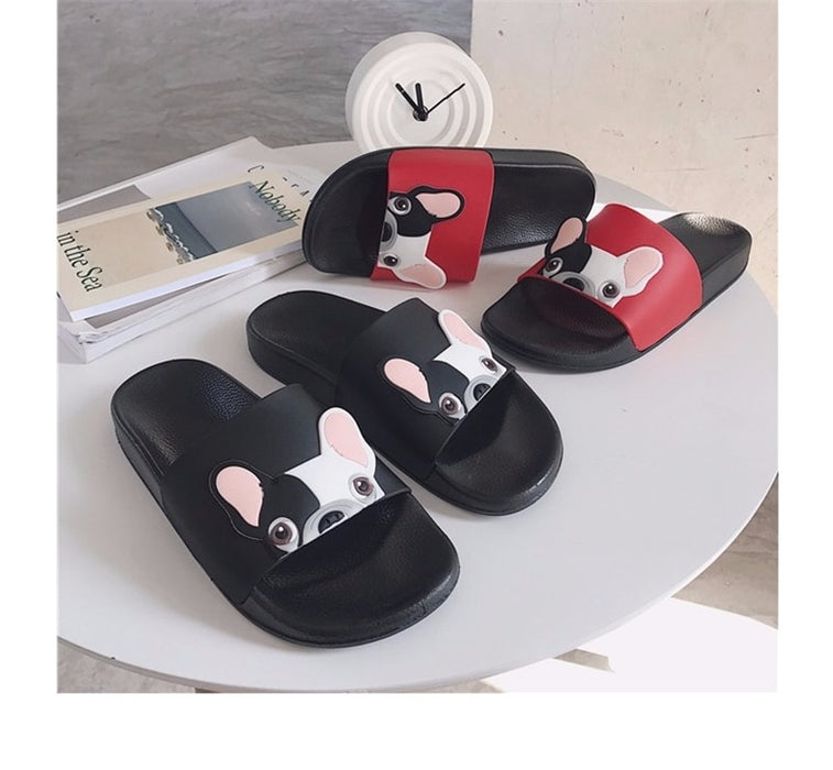 Women's Open Toe Beach Bulldog Seaside Indoor Home Casual Slides Slippers