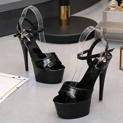 Women New Summer 15cm High-Heels Waterproof Thick Bottom Sequins Thin Heels Sandal