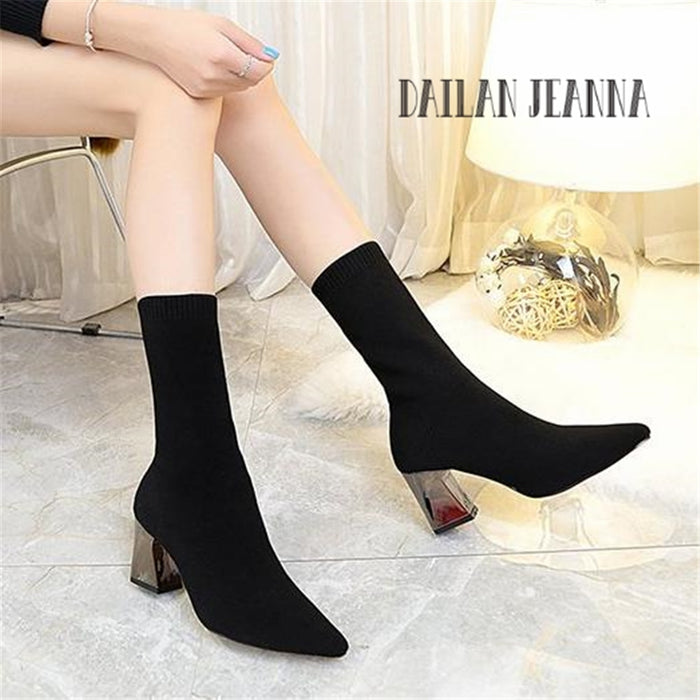 Cashmere Boots Rough with Pointed Shoes Bare Boots High-Heeled Knitted Socks Boots Stretch Boots Women's Shoes