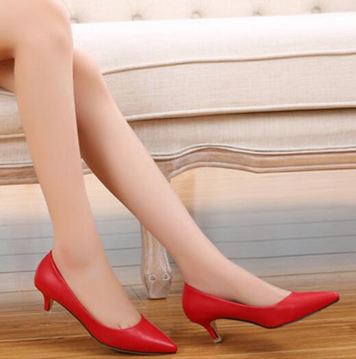 Fashion Women Pumps 5cm Low Heels Pointed Toe Comfortable High Quality Shoes