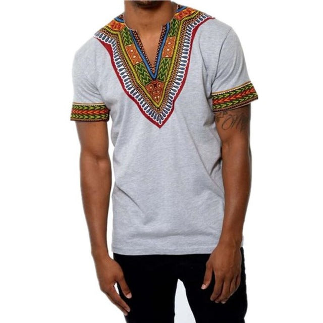 Men New Africa Print Dashiki Casual Hip Hop Tops Tees Africa Clothing