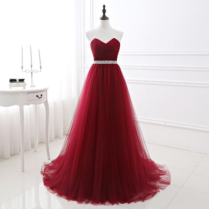 Simple Women Wine Red Evening Dress