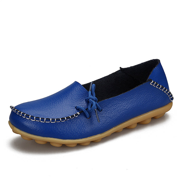 Women Genuine Leather  Loafers Casual Shoes Soft Driving Ballet Footwear Big 44