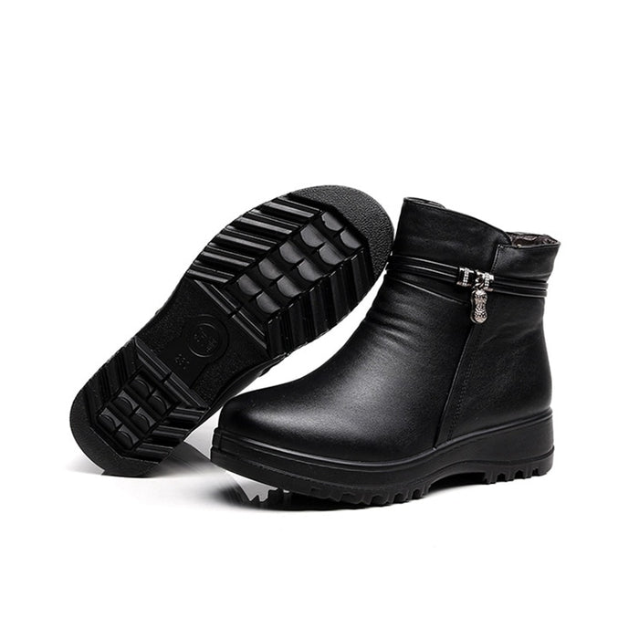 Fashion Winter genuine leather ankle flat Casual Comfortable Warm Woman Snow Boots