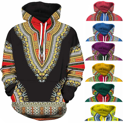 AfroFashion Unisex African Dashiki Print Hooded Sweatshirt (Red Yellow Purple Black Orange Blue Green)