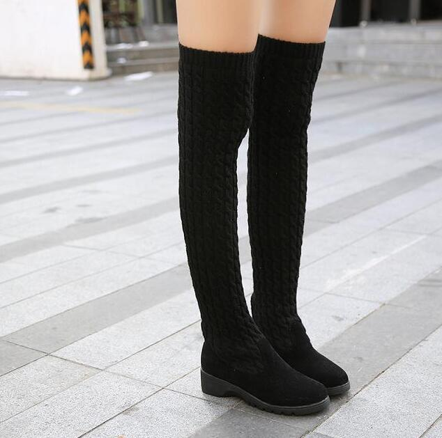 Fashion Knitted Women Knee High Boots Elastic Slim Autumn Winter Warm Boots