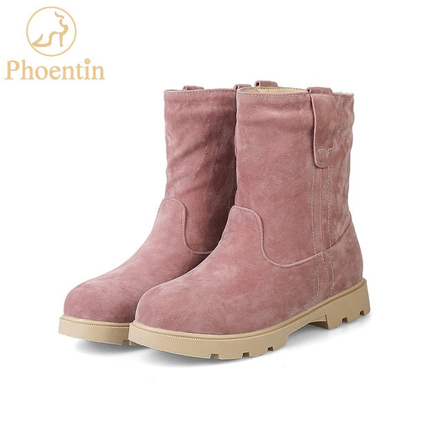 Pink snow boots plush inside slip-on mid-calf flock womens boots