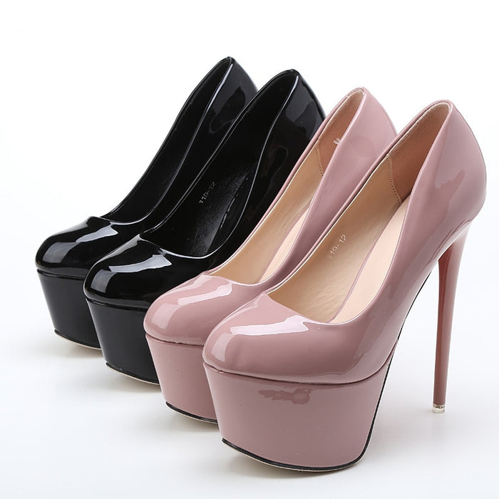 Super High Heels Concise 5CM platform pumps Wedding Party Sexy 15cm OL patent leather shoes