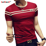 Fashion Short Sleeves Stripe Fold Slim Fit Casual tee shirt