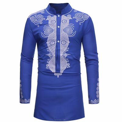 African Dashiki Fashion Casual Stand Collar Long SleeveTops