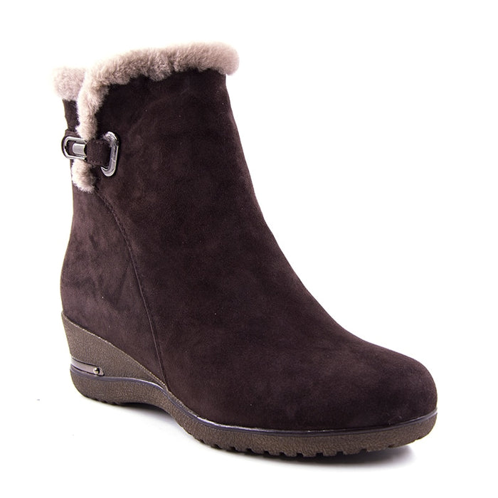 Warm Wool Snow cow Leather Women Genuine Leather Wedges Non-slip Boots