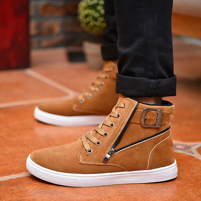 Flock Leather Casual Men Ankle High Top Buckle Zipper Boots
