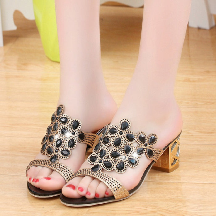 Designer Ladies Slides Slippers Sandals Crystal Peep Toe Middle Heels