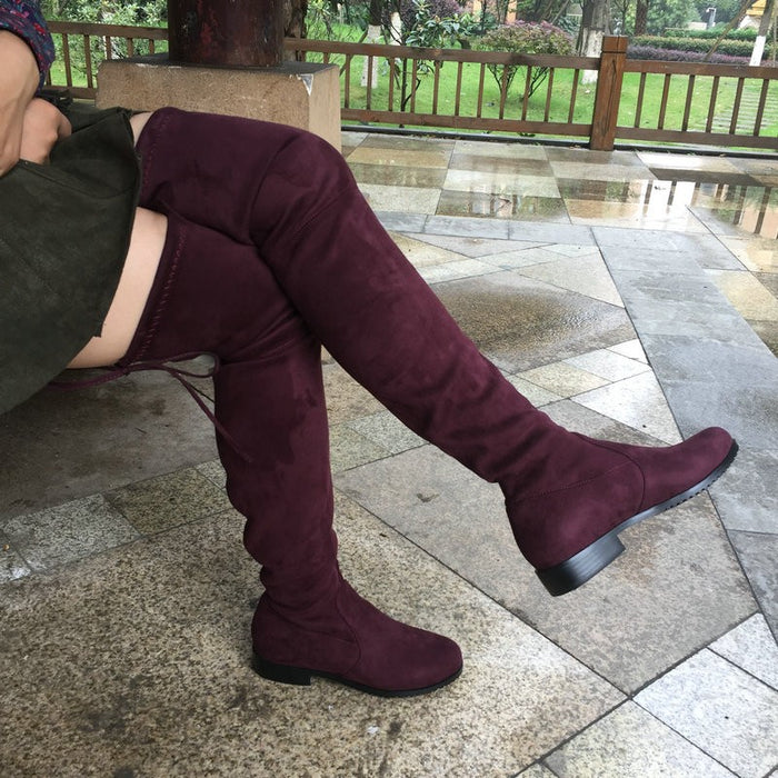 Thigh High Flat Boots Women Over the Knee Boots