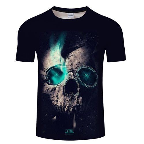 White t shirt 3D Skull Male Top Summer Tee Short Sleeve O-neck T-shirt