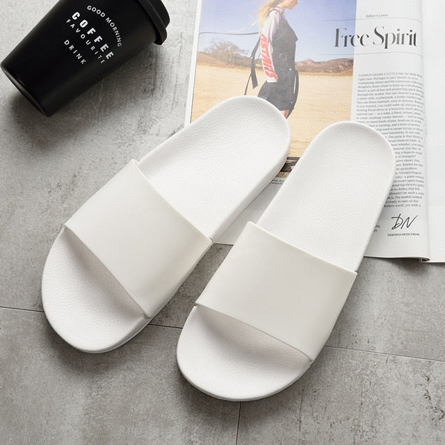 asual Black And White Shoes Non-slip Slides Soft Sole Flip Flops