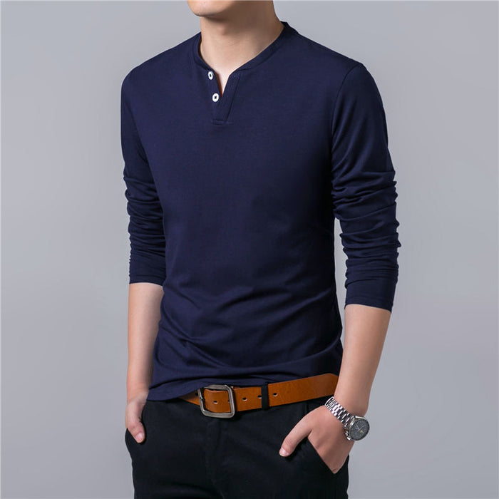 Henry Collar T Shirt Men Brand Soft Pure Cotton Slim Fit Tee Shirts