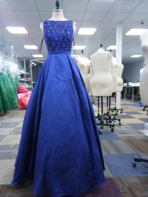 Long Elegant O Neck Sexy Backless Satin Vestido Long Floor Length Prom Gowns