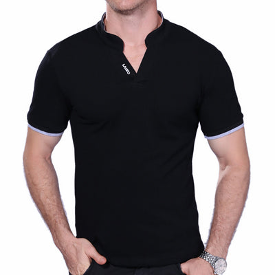 Men's V Neck Solid Short Sleeve Collar Slim Fit Mens Top Tees Shirt