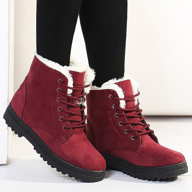 Women's Suede Leather Snow Boots High Top Ankle Boots Winter Shoes with Fur