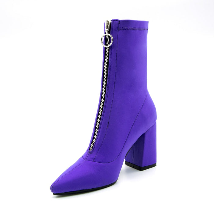 New Lycra Women Boots Pointed Toe Square Heel Shoes Woman Fashion Ankle Boots
