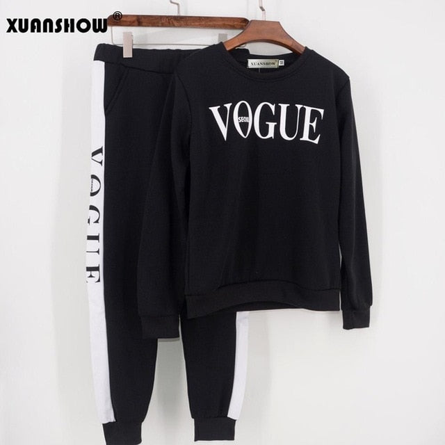 VOGUE Printed 0-Neck Sweatshirt + Patchwork Long Pant 2 Piece Set