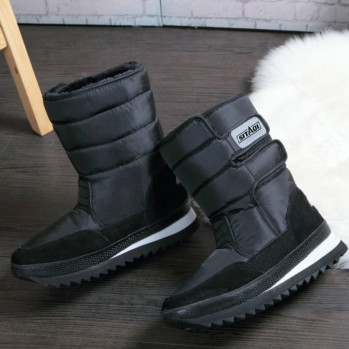 Men Winter Solid Black Snow Boots Brand Style Warm Boots