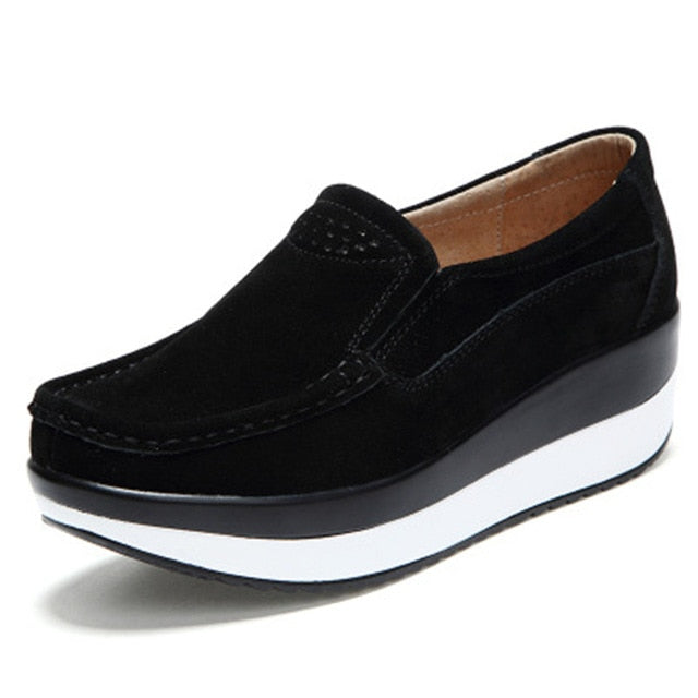 Women Flat Platform Ladies Suede Leather Hollow Casual Shoes