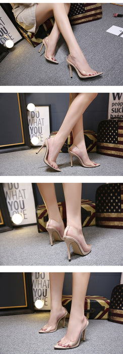 Transparent Pumps High Heels Point Toes Shoes