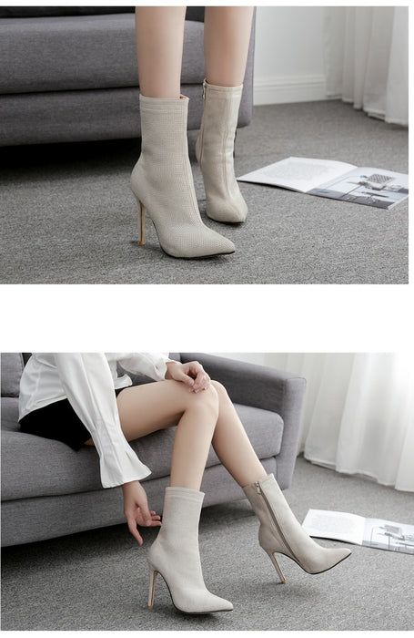 Women Ankle Rhinestones High Heels Zip Pointed Toe Sexy Boots