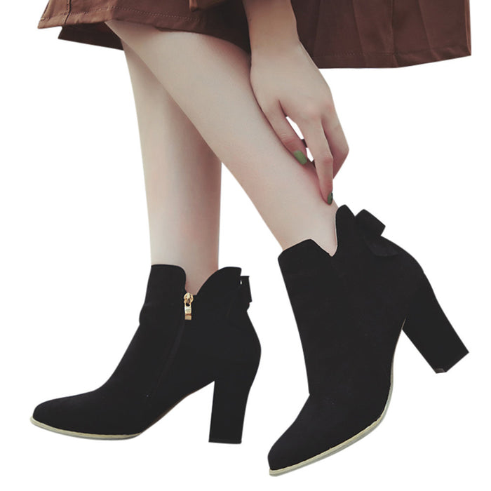 Women Flcok Ponited Toe Bow Boots Ankle Boots High Heels Zipper Martin Shoes