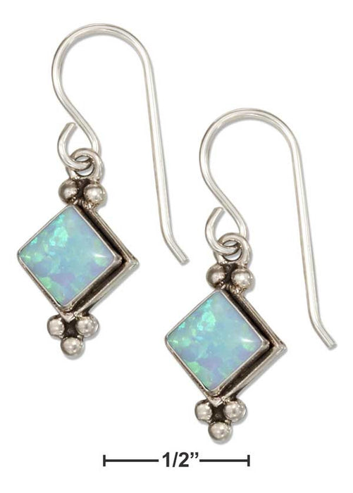 Sterling Silver Diamond Shape Synthetic Blue Opal Earrings