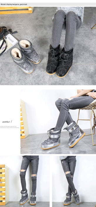 Snow Boots Winter Ankle Boots Women Shoes Fur Warm Boots