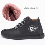 Classic Comfortable Men Ankle Quality Split Leather Shoes Men Snow Boots