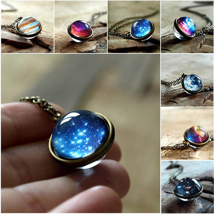 Solar System Necklace Pendant Planet Necklace Galaxy Double Sided Glass Dome