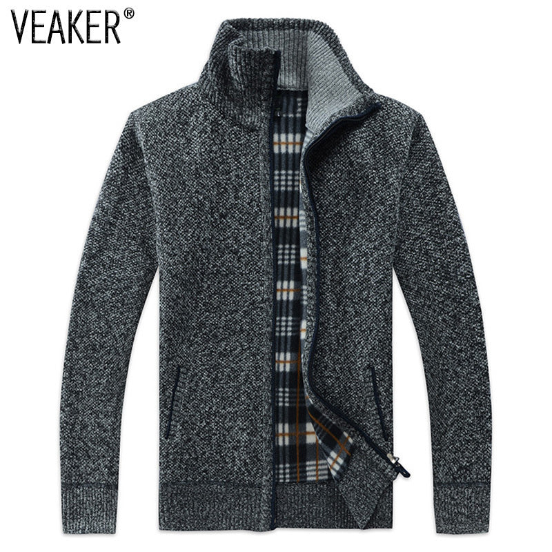 Men Zipper Knitted Thick Coat Casual Knitwear