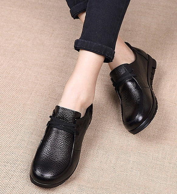 Designer Women Flats Genuine Leather Shoes female Slip on Loafers