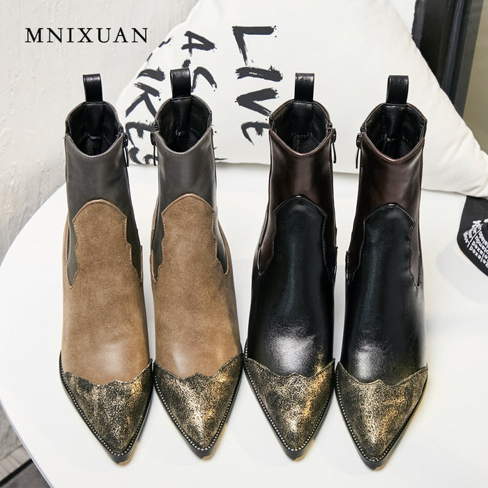 Retro Women Ankle Short Plush Sexy Pointed Toe Rivets Stitching Knight Boots