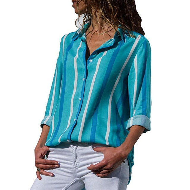 Floral Print Long Sleeve Turn Down Collar Blouse Ladies Shirts Striped Tunic