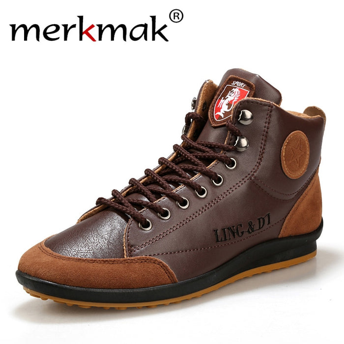 Men Leather Fashion Brand Ankle Boots Lace Up Shoes
