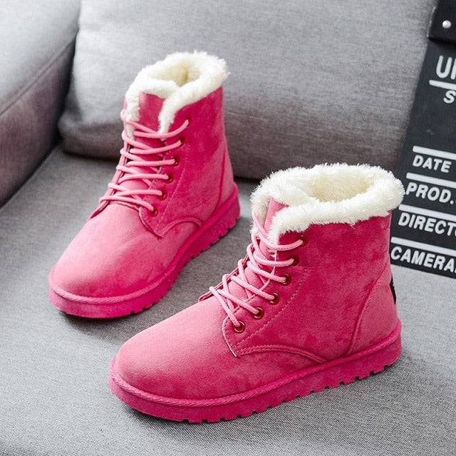 Winter Female Fashion Shoes Faux Suede Ankle Plush Insole Snow Boots