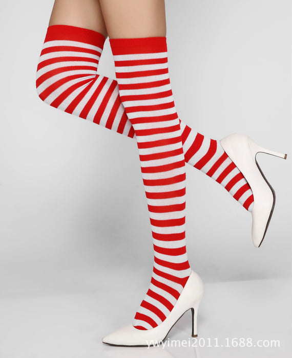 1Pair New Women Girls Over Knee Long Stripe Printed Thigh High Patterned Socks