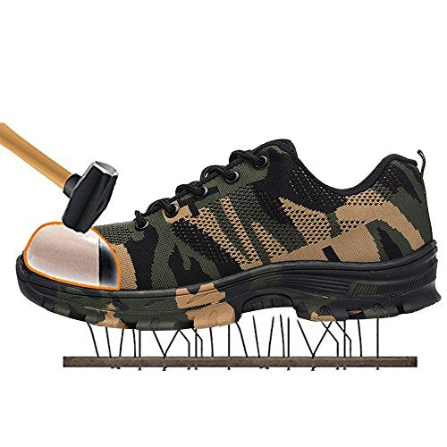 Men's Outdoor Steel Toe Cap Work Shoes Camouflage Puncture Proof Safety Shoes