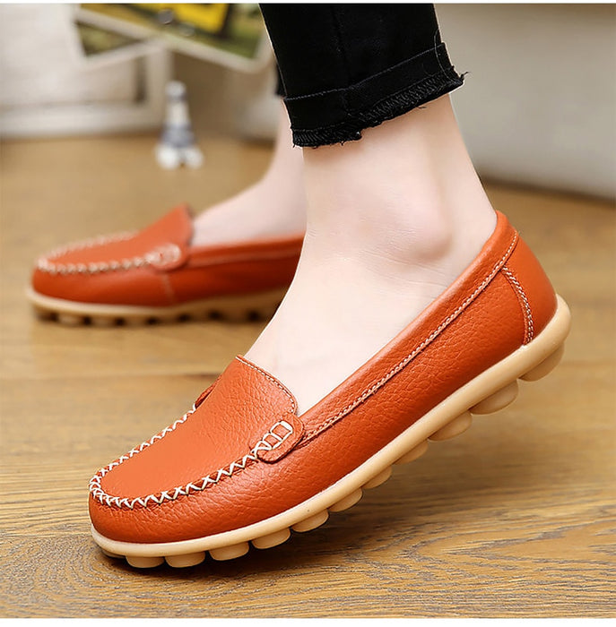 Genuine Leather Woman Soft Flats Ladies Loafers Non-Slip Sturdy Sole Shoes